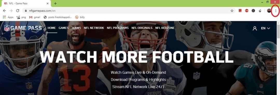 NFL Game Pass sur Chromecast